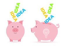 Piggy bank with idea. Royalty Free Stock Photos