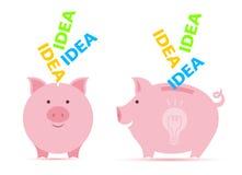 Piggy bank with idea. Royalty Free Stock Photos