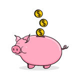 Piggy bank illustration. Piggy bank with coins illustration Stock Photos