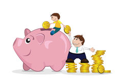 Piggy bank. Illustration of isolated father and son saving money Stock Images