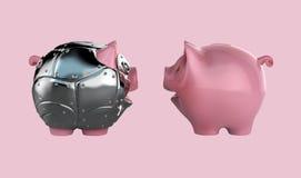 Piggy bank illustration. Safe banking. Metal armoured toy piggy bank 3d illustration Stock Photos