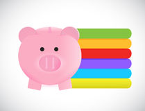 Piggy bank and info graphic color lines Stock Image