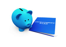 Piggy Bank Investment. A funny piggy-bank or money-box advising an investment plan Stock Photography