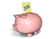 Piggy Bank IOU Royalty Free Stock Photography
