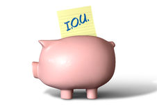 Piggy Bank IOU Royalty Free Stock Photo