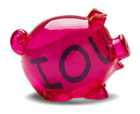 Piggy Bank IOU. Pink piggy bank with Iou note inside  on white background Royalty Free Stock Image