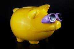 Piggy Bank (isolated on black). Funny piggy bank on a black background with smooth shadow Royalty Free Stock Photos