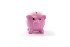 Piggy bank isolated. Pink ceramic piggy bank isolated on white Stock Photos