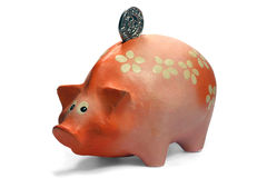Piggy bank isolated on white Royalty Free Stock Photography