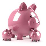 Piggy bank and its fruits Stock Photography