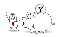 Piggy bank and japanese yen Stock Images