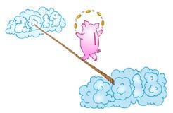 Piggy bank juggler on white background stock illustration