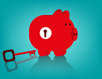 Piggy bank and key Royalty Free Stock Photo