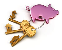 Piggy bank - keychain and different keys. Key to the house, car and money. Conceptual finance illustration Stock Photos