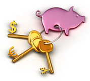 Piggy bank - keychain and different money keys. Key to the dollar, euro and Yen Stock Image