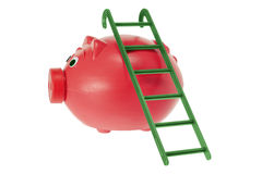 Piggy Bank with Ladder Royalty Free Stock Photography