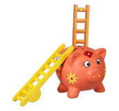 Piggy Bank with Ladders Stock Images