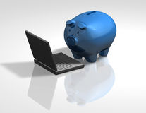 Piggy bank with laptop financial education and information idea Stock Image