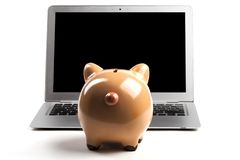 Piggy Bank With Laptop Stock Image