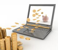 Piggy bank and laptop Stock Photography