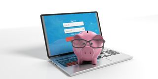 Piggy bank on a laptop - white background. 3d illustration. Piggy bank on a laptop  on white background. 3d illustration Stock Photography
