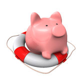 Piggy Bank Lifebelt Stock Photos