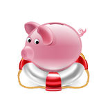 Piggy bank on the lifebelt  isolated Royalty Free Stock Photos