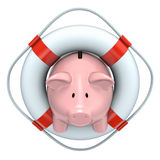 Piggy bank with the lifebuoy. 3D concept with piggy bank with the lifebuoy over white background Royalty Free Stock Image