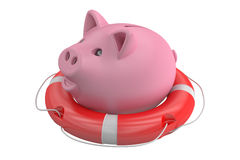 Piggy bank with lifebuoy, 3D rendering. Piggy bank with lifebuoy, on white background Royalty Free Stock Photo