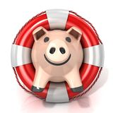 Piggy bank with lifebuoy Royalty Free Stock Images