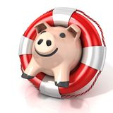 Piggy bank with lifebuoy Stock Photo