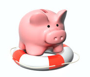 Piggy bank and lifebuoy Stock Photography