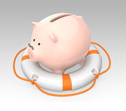 Piggy bank in a lifebuoy. Saving money concept Stock Images