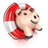 Piggy bank with lifebuoy. Side view Royalty Free Stock Photo
