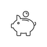 Piggy bank line icon, outline vector sign. Linear style pictogram isolated on white. Savings symbol, logo illustration. Editable stroke. Pixel perfect vector Stock Image