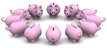 Piggy bank located in a circle Stock Photography