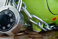 Piggy bank and lock Stock Photo