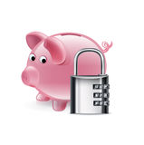 Piggy bank with lock icon  on white Stock Photos