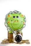 Piggy bank locked in chain Stock Photos