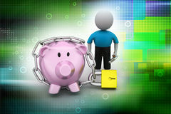Piggy bank locked with chain and padlock Royalty Free Stock Photo