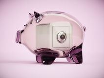 Piggy bank with locked safe box inside 3d illustration Royalty Free Stock Photography