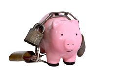 Piggy bank with locks Stock Photos