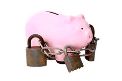 Piggy bank with locks Stock Photography