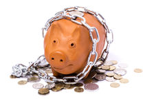 Piggy-bank locks, chained and locked Stock Photos