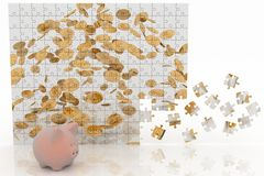 Piggy bank looking at the picture of the puzzle with falling coins Stock Image