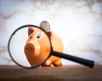 Piggy bank looking throw magnifying glass Stock Images