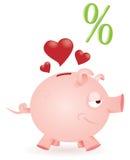 Piggy bank loves bargains. A lover piggy bank happy for convenient bargains Stock Photos