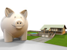 Piggy bank - luxury house concept. 3D render illustration of a piggy bank positioned next to a luxury house stock illustration