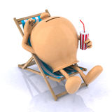 Piggy bank lying on a beach chair. A piggy bank lying on a beach chair, concept of safe savings Stock Photos
