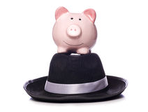 Piggy bank on a mafia hat Royalty Free Stock Images